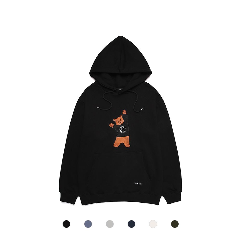 [DXOH] BEAR EMBROIDER HOODIE 6COLOR